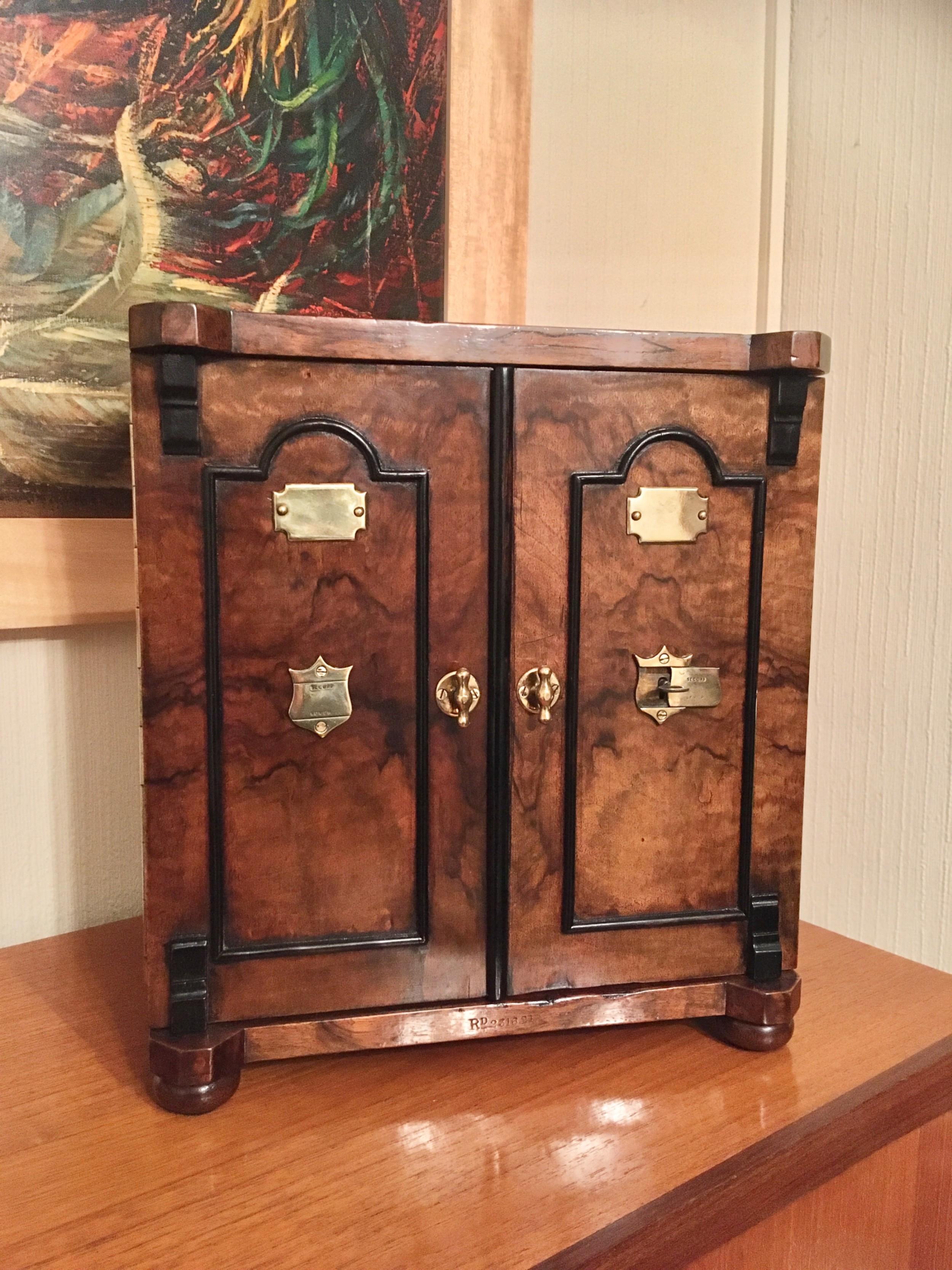 walnut faux safe jewellery box