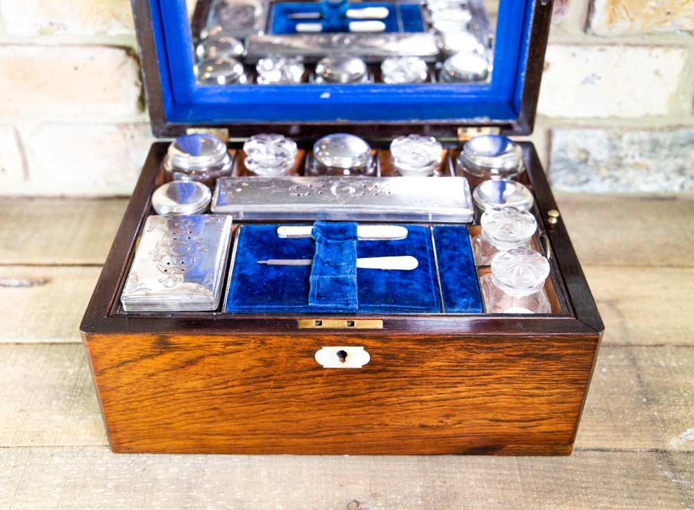 fully kitted rosewood vanity box c1870