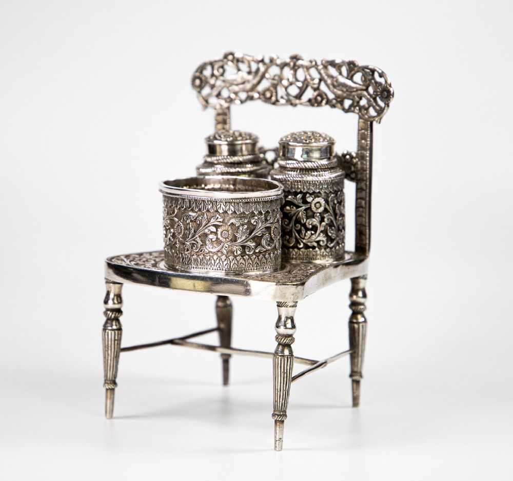 anglo indian colonial silver condiment set of chair kutch 1910 412 gms