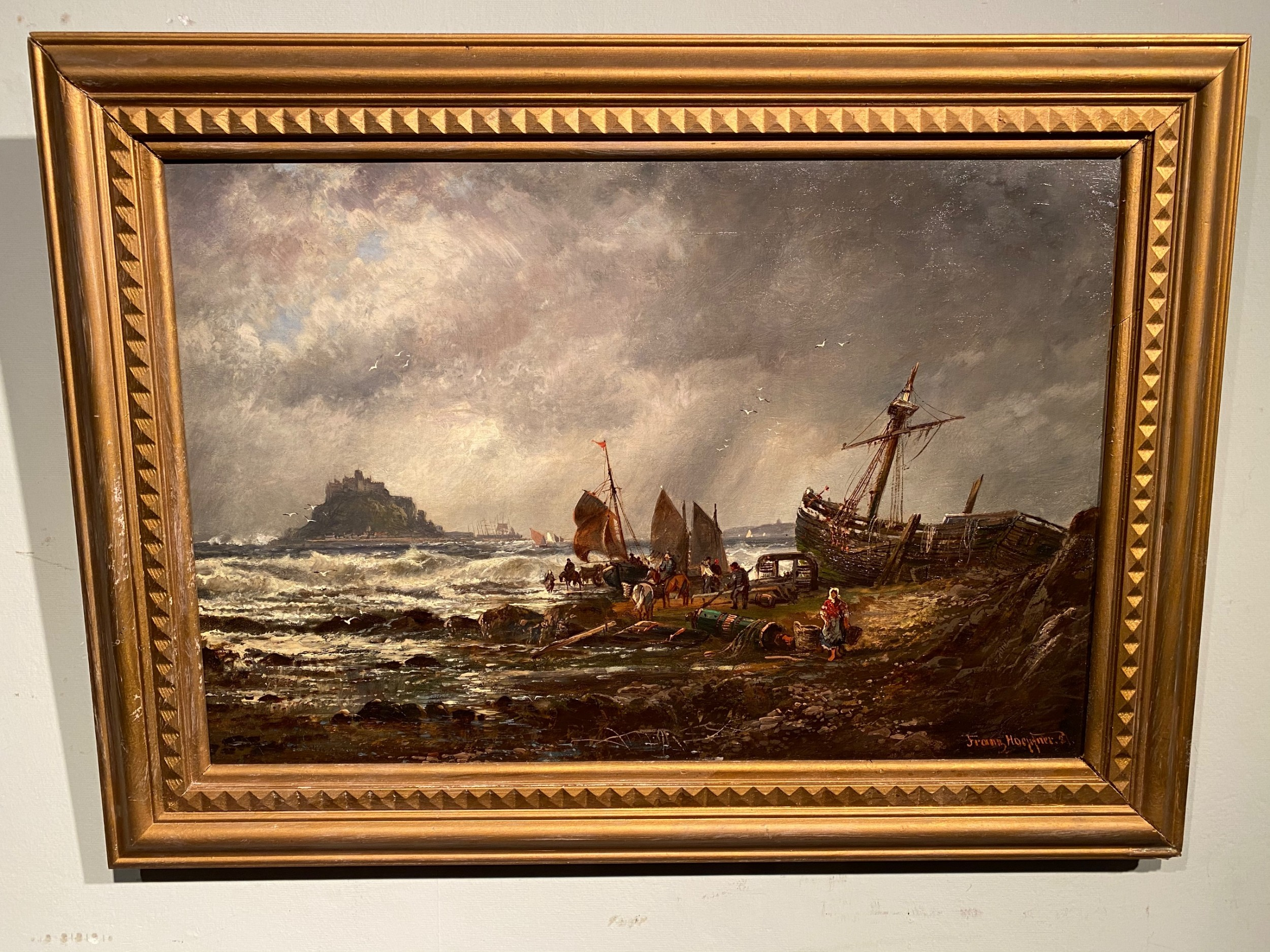 a 19th century shore scene oil on canvas by franz hoepfner