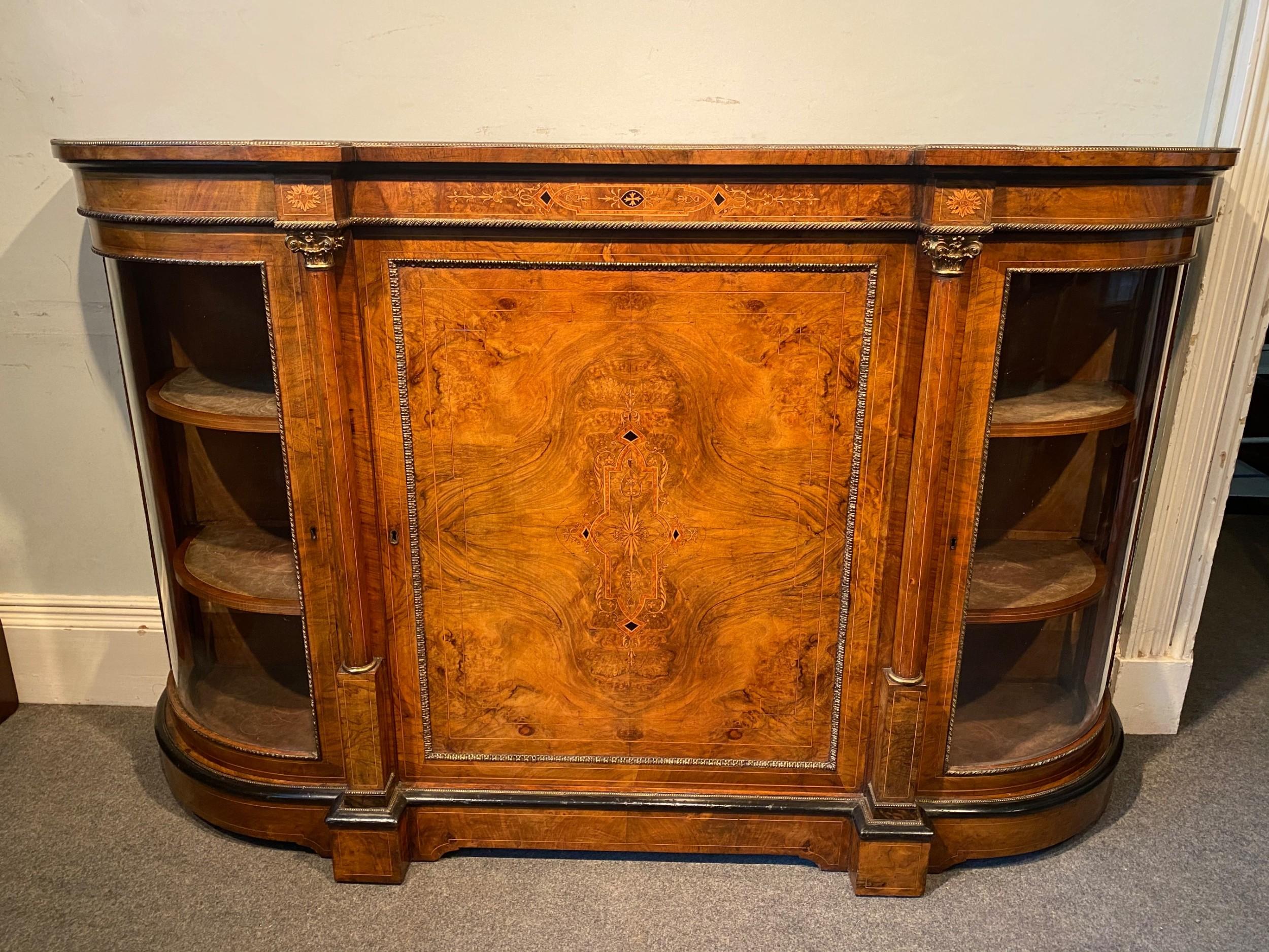 a fine quality 19th century burr walnut credenza