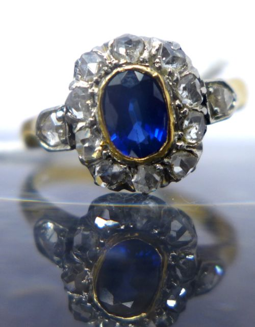 a victorian rose cut diamond and sapphire