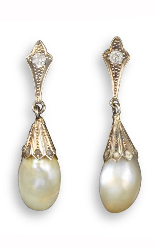 edwardian natural pearl an diamond earrings