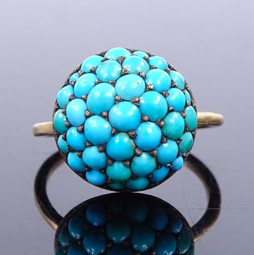 antique turquoise victorian bombe ring