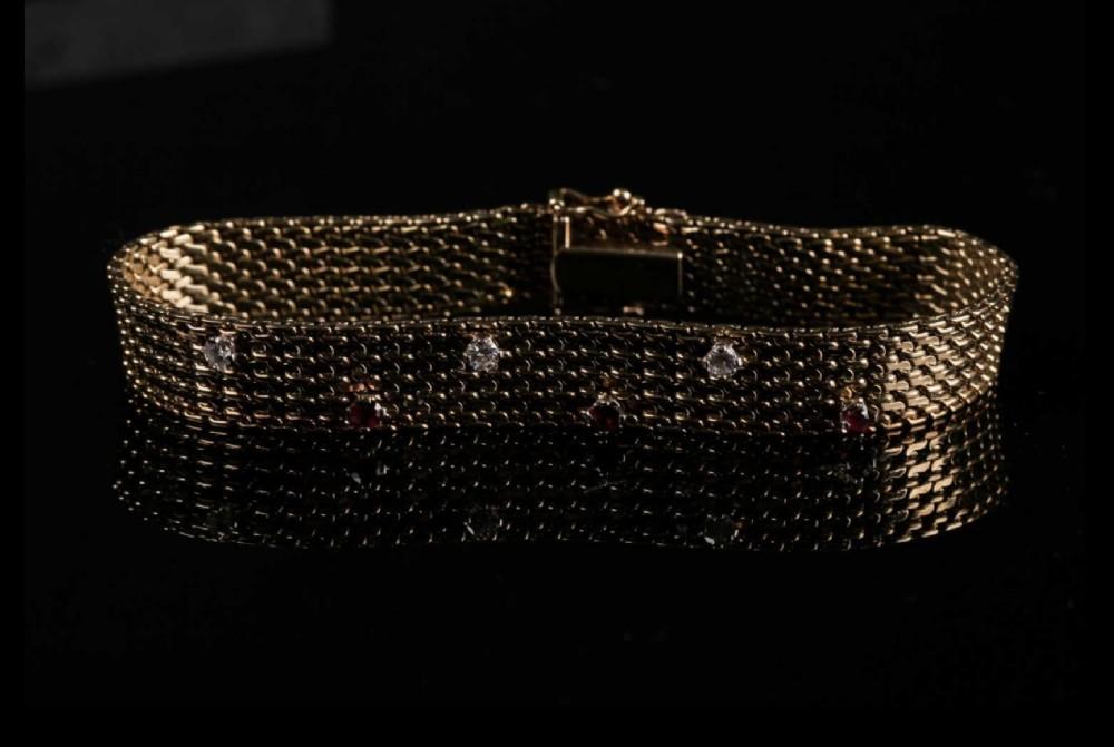 mid century diamond and ruby bracelet