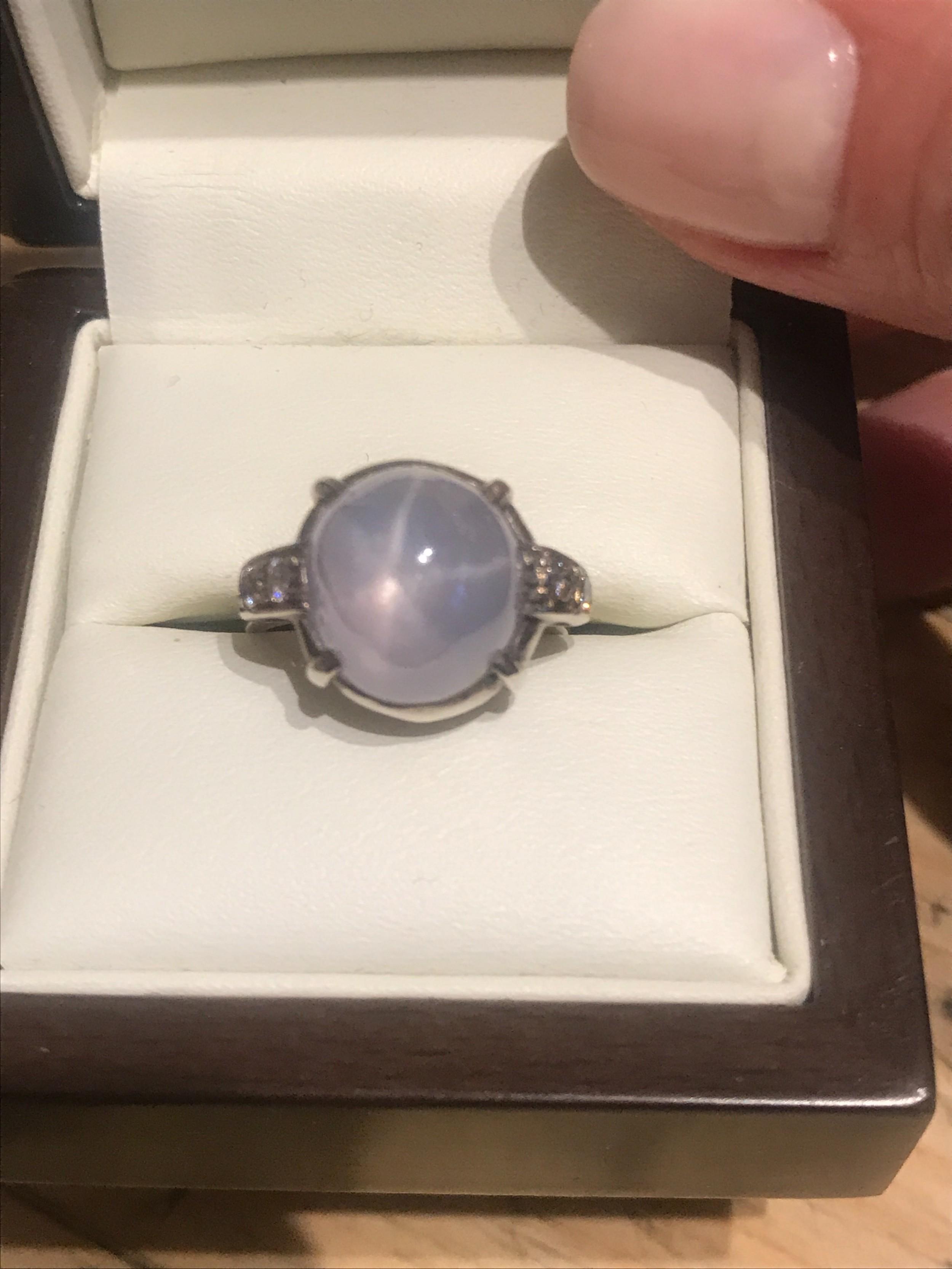 art deco star sapphire platinum ring