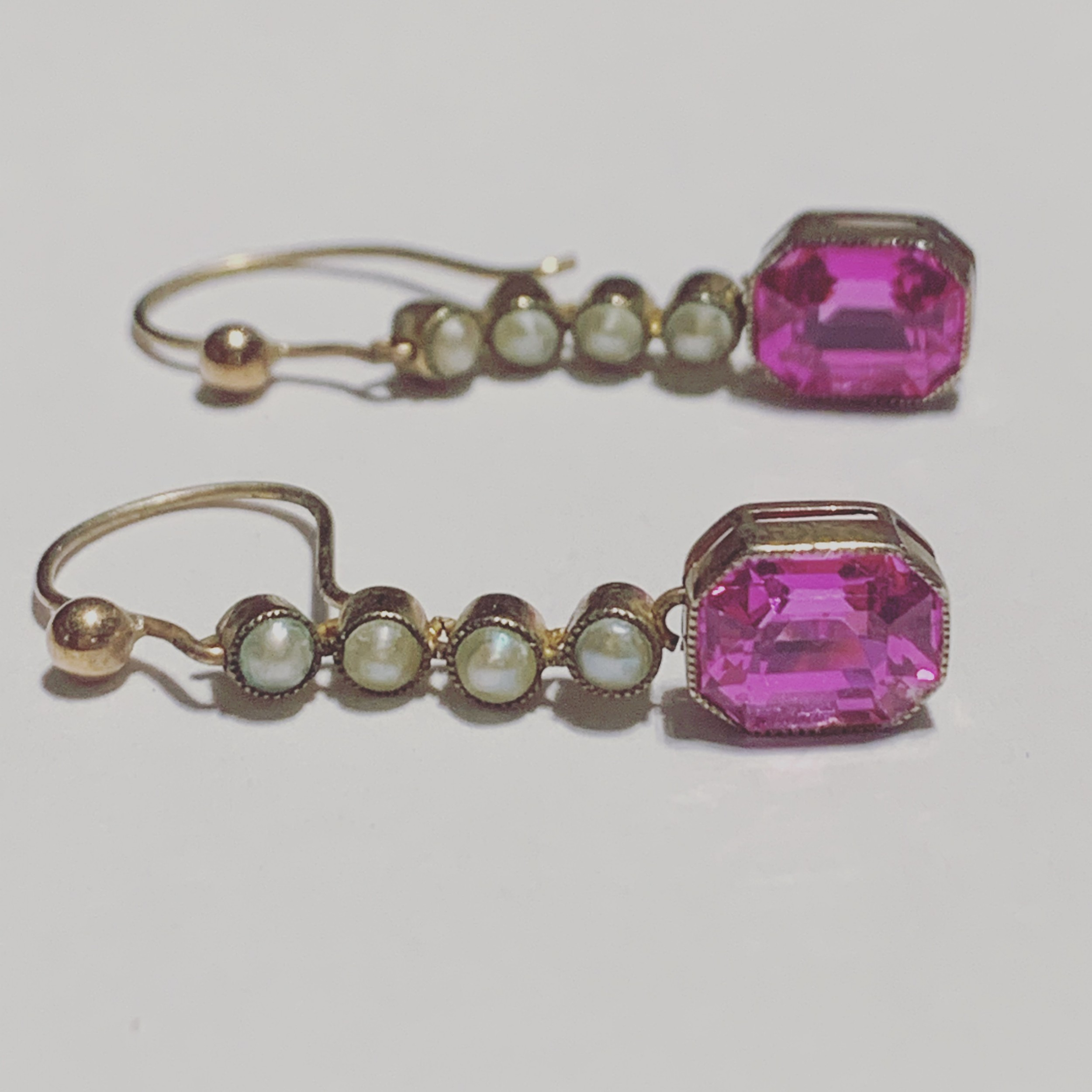 edwardian synthetic ruby and pearl 15ct earrings