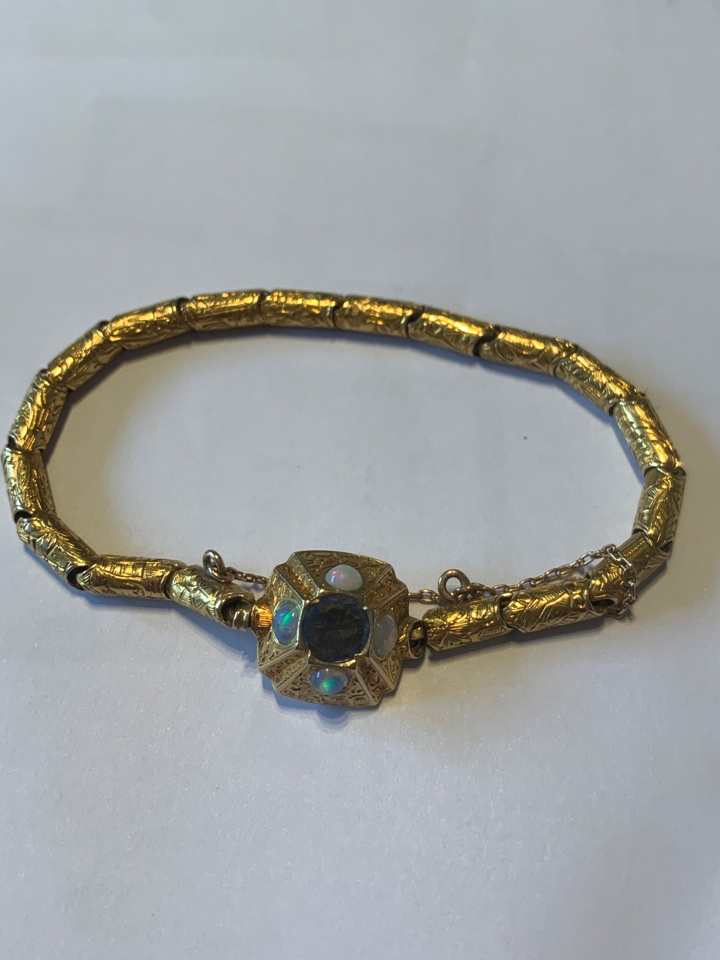 victorian 18ct gold ceylon sapphire and opal bracelet