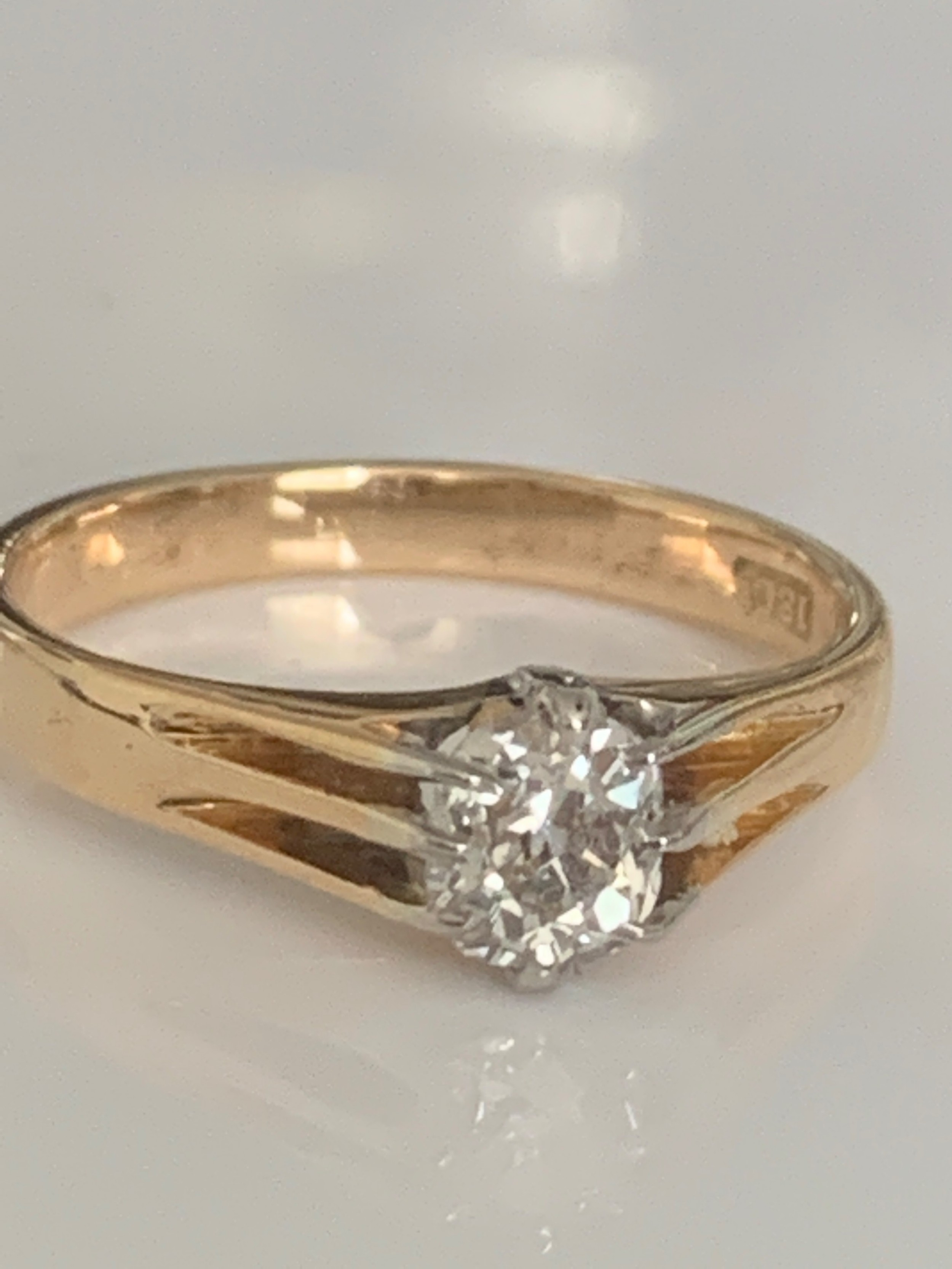 edwardian solitaire old mine cut diamond ring 07cts