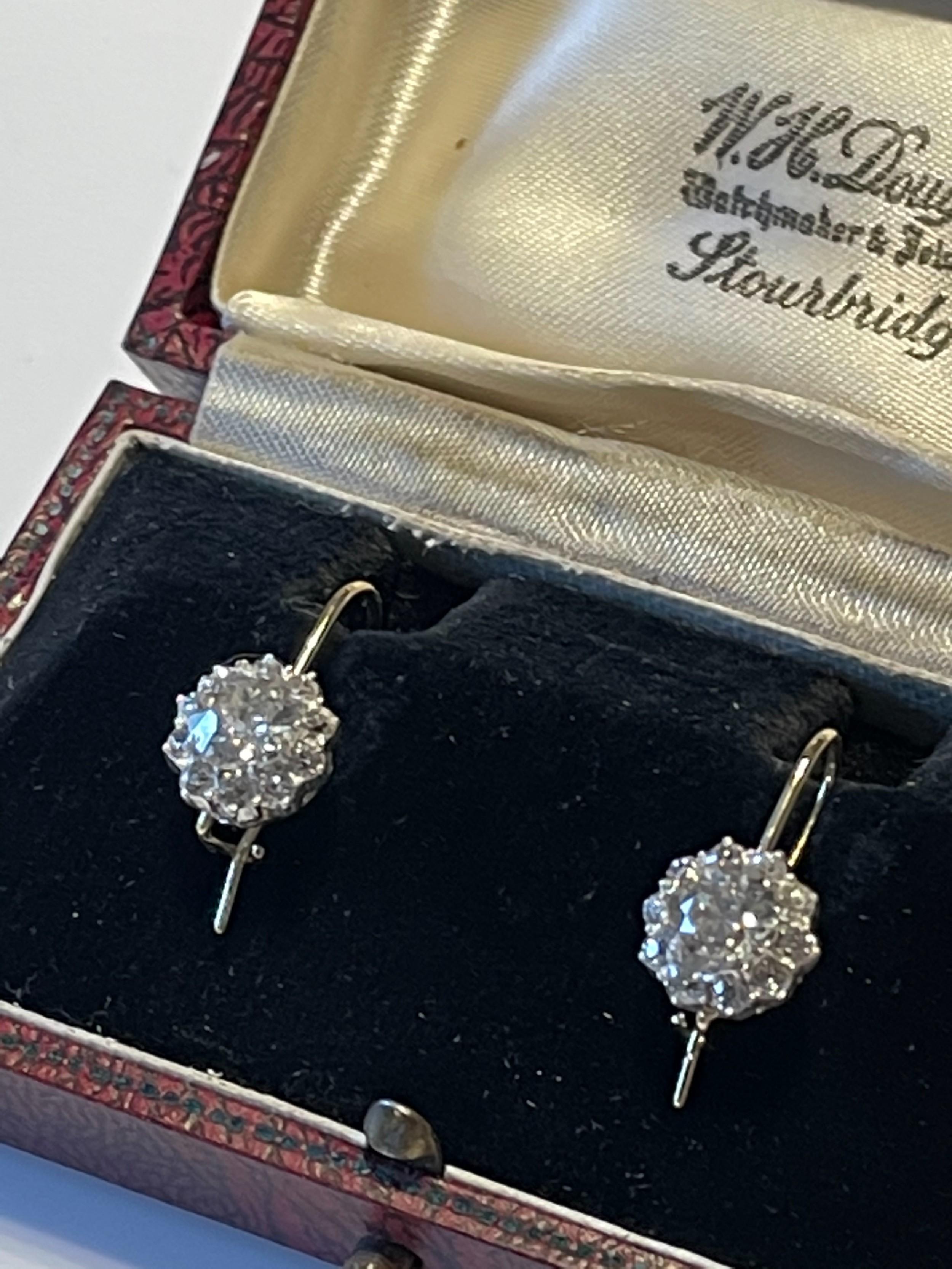 25ct victorian antique old cut diamond earrings