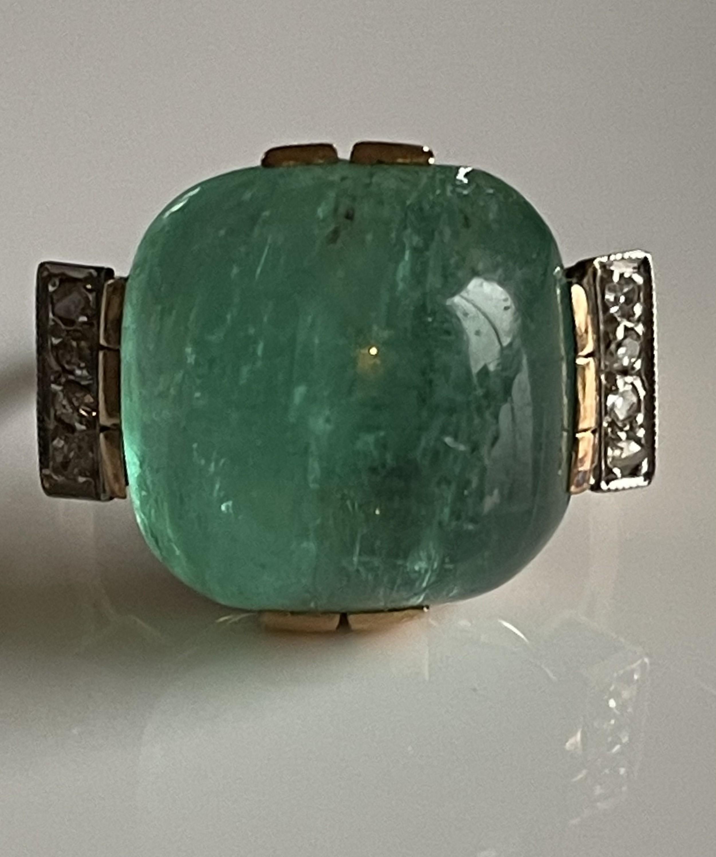 emerald and diamond art deco cabochon ring