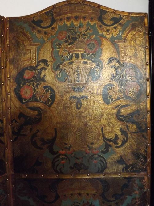 late c18thearly c19th dutch leather draught screen - photo angle #2