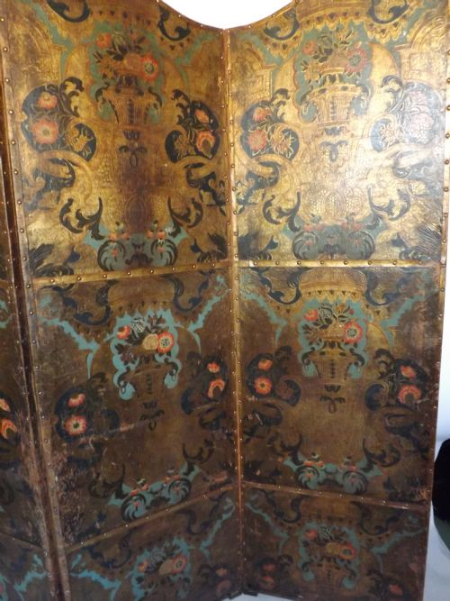 late c18thearly c19th dutch leather draught screen - photo angle #3
