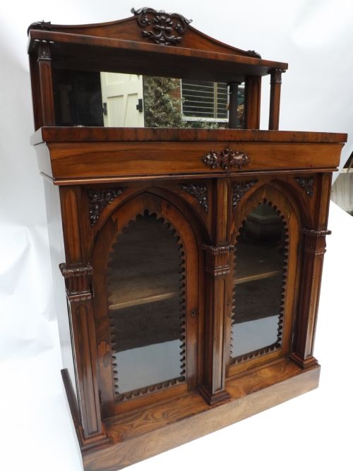 c19th william iv period rosewood gothic style chiffonierbookcase