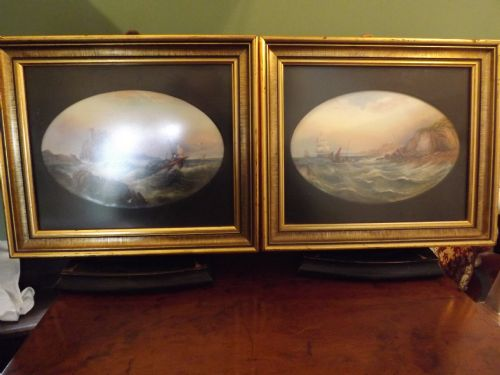 pair of early c20th royal worcester porcelain oval plaques both signed by r rushton