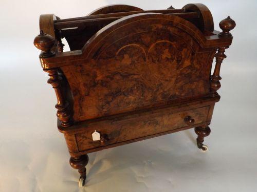 c19th victorian inlaid burrwalnut canterbury