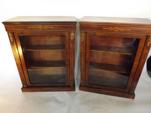pair c19th victorian period figured walnut dwarf pier cabinets