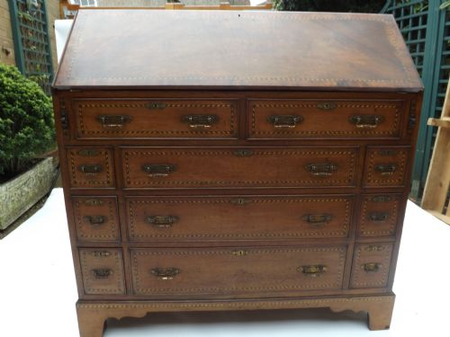c19th walnut and strunginlaid 'estate' bureau