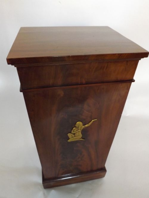 c19th french empirestyle mahogany pedestal tambour door bedside cabinet