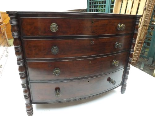 c19th mahogany bowfront chest of drawers