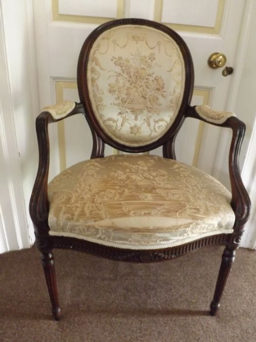late c19th early c20th george iii style carved mahogany salon armchair