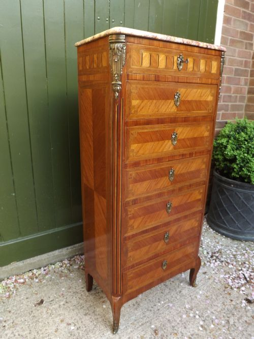 late c19th french louis xv style kingwood tulipwood and walnut 'semainier' chest of seven drawers with gilt brass mounts