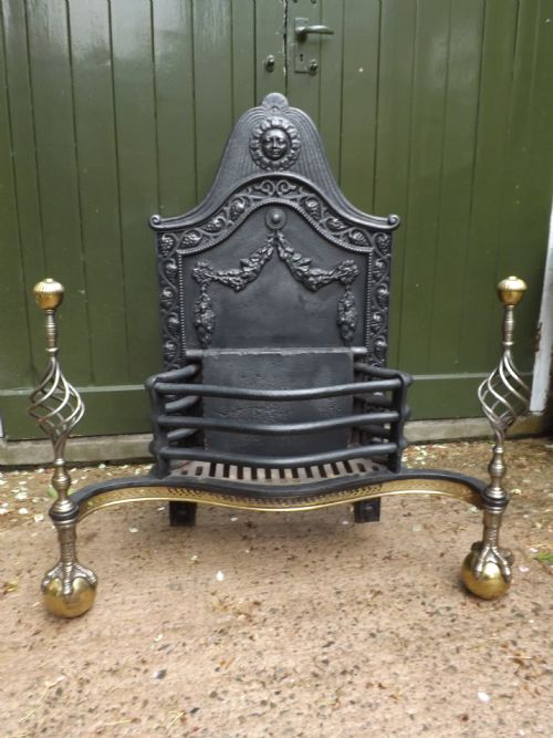 impressive late c19th castiron brass and steel firebasket