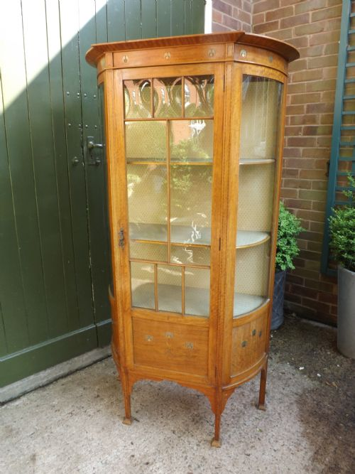 c19th art nouveau style satinwood display cabinet
