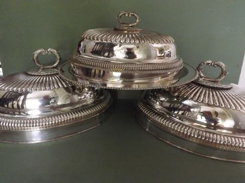 set of 3 c19th regency period 'old sheffieldplate' meatcovers