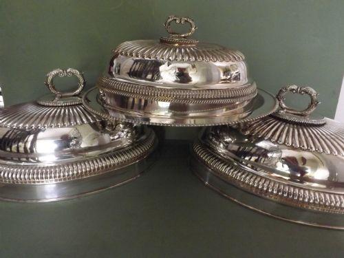 set of 3 c19th regency period 'old sheffieldplate' meatcovers