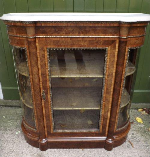 c19th victorian period burrwalnut bowended display cabinetcredenza