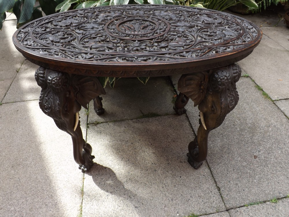 C19th Carved Teak Indian Or Burmese Oval Elephant Support Table