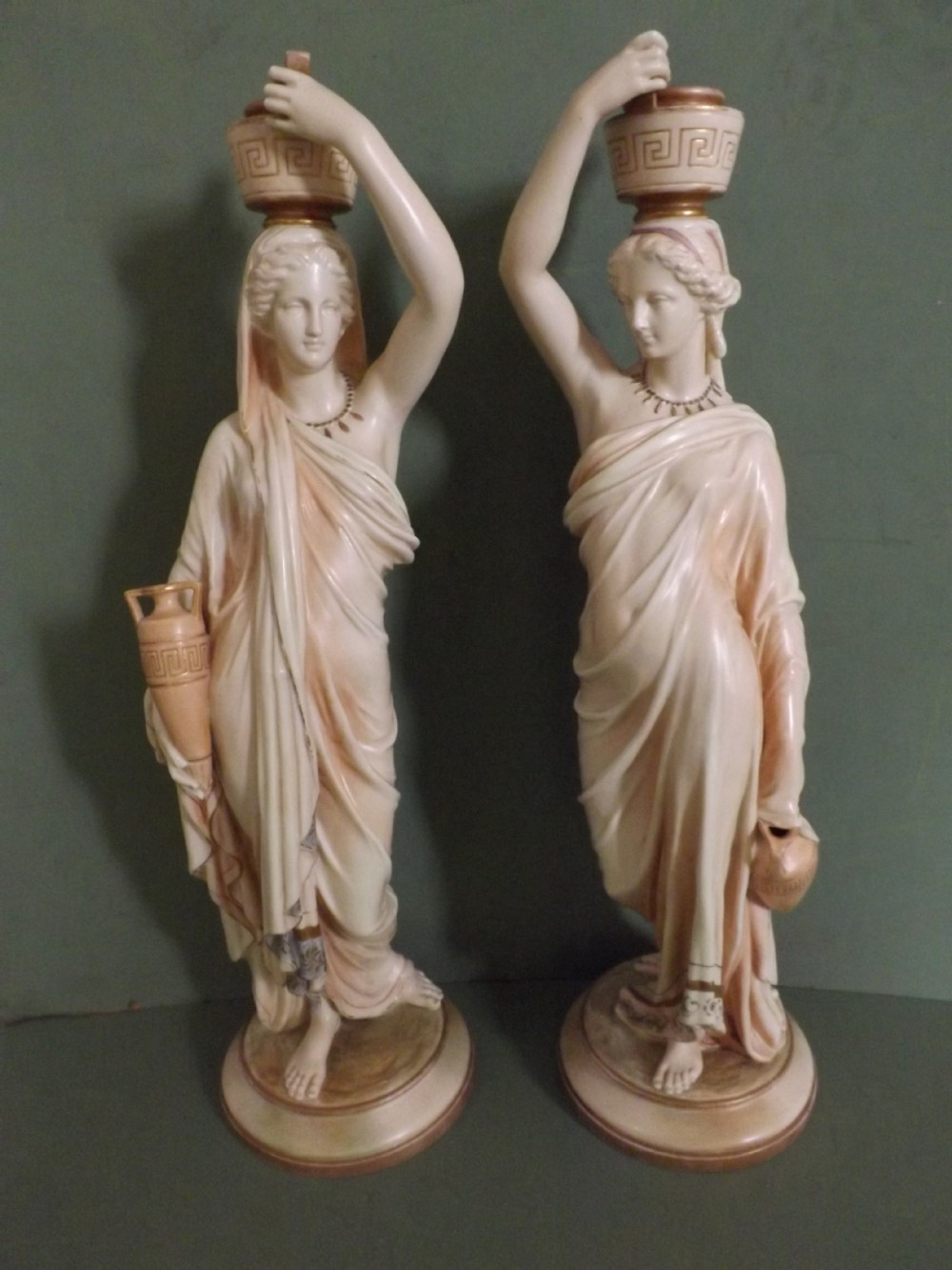 pair late c19th royal worcester porcelain figures of grecian watercarriers