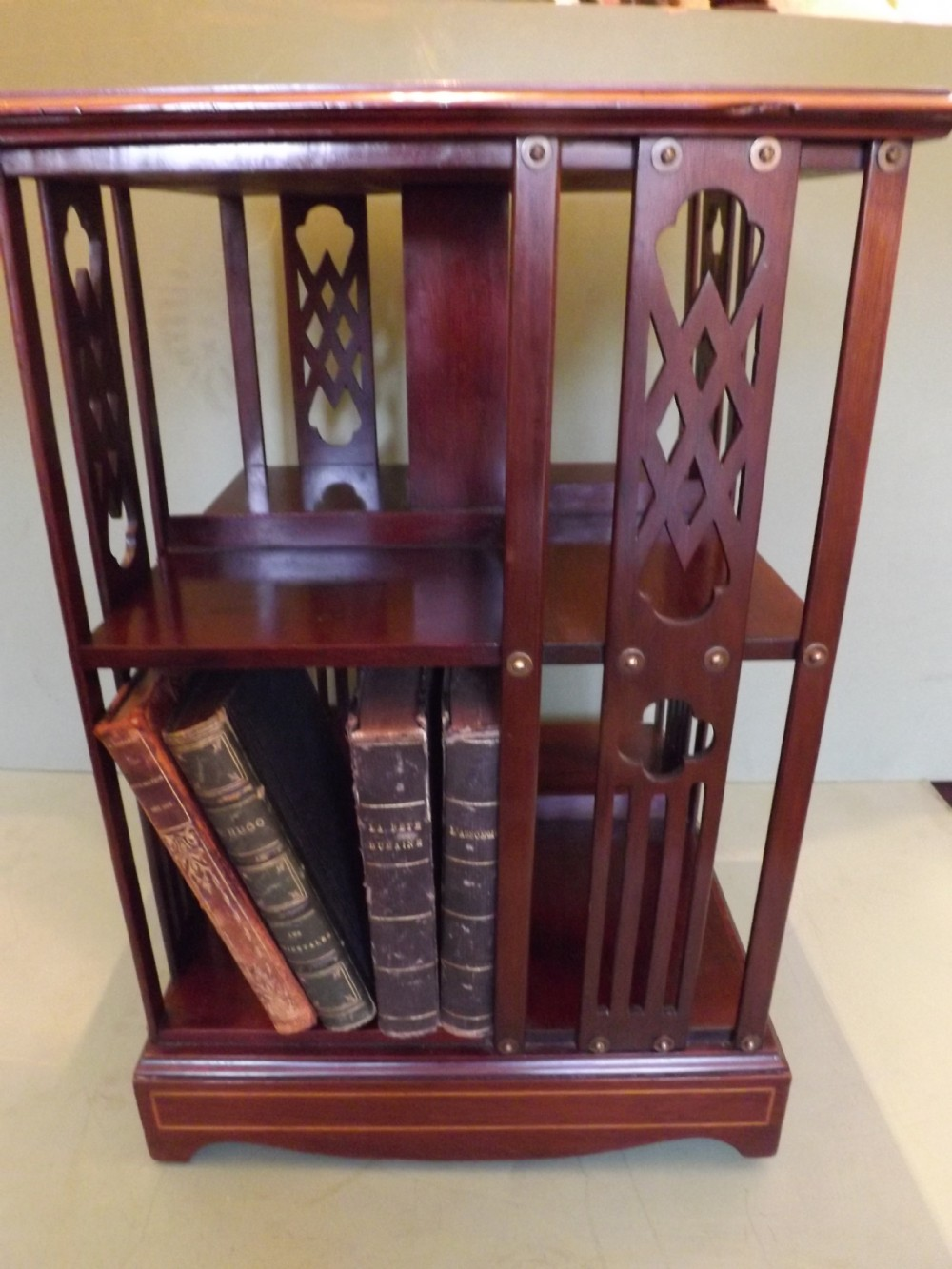 late c19th early c20th edwardian period inlaid mahogany miniature tabletop revolving bookcase