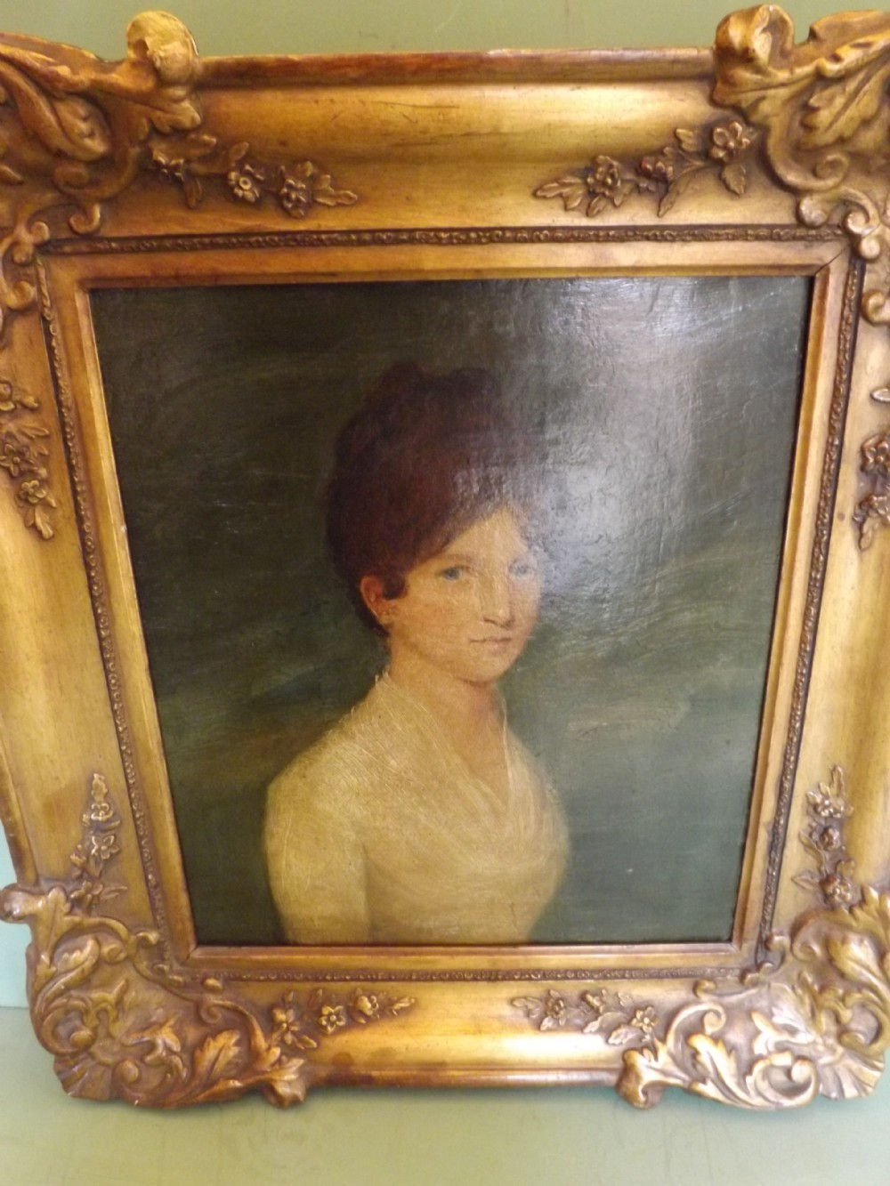 c19th portrait oil painting on canvas 'young woman'