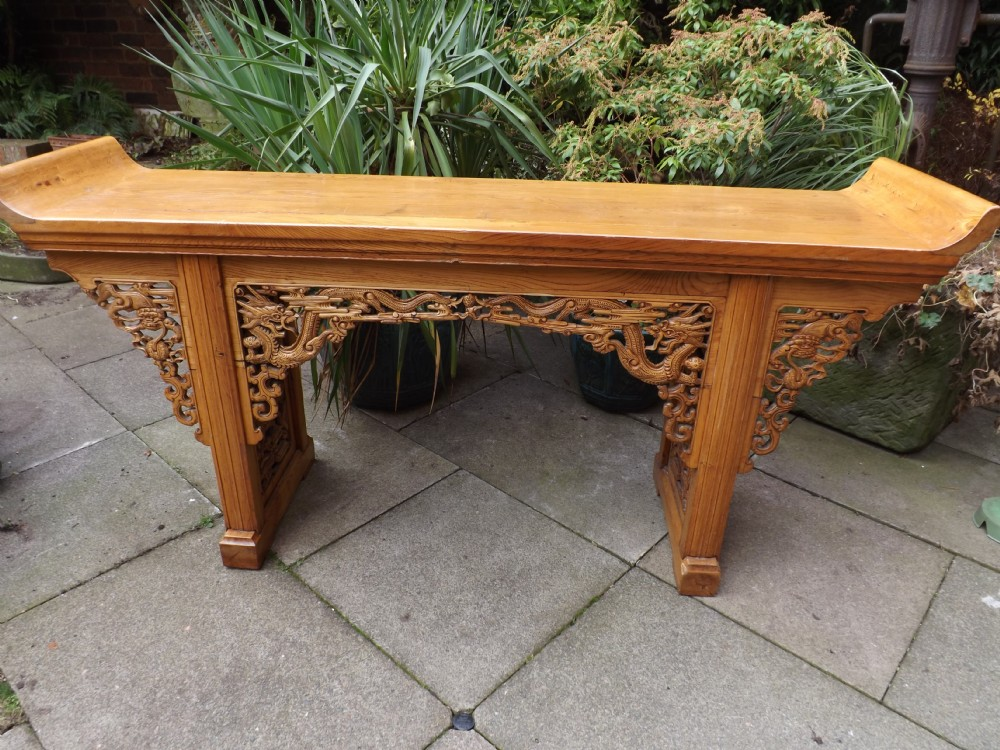 Early C20th Chinese Carved Elm Altar Table