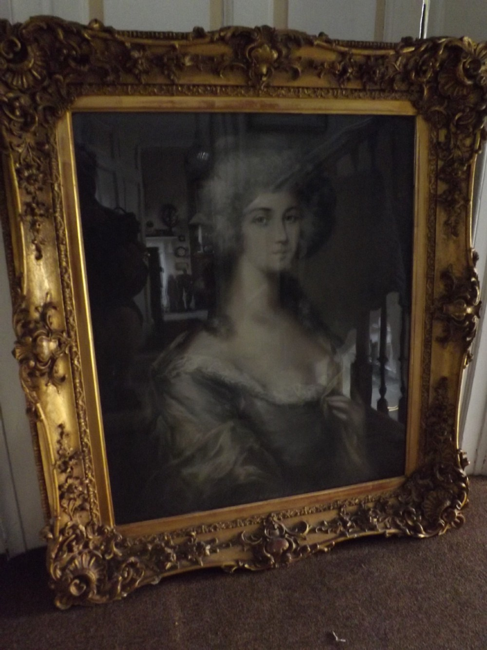 c19th pastel portrait drawing of aristocratic woman in large giltwood and gesso surround frame