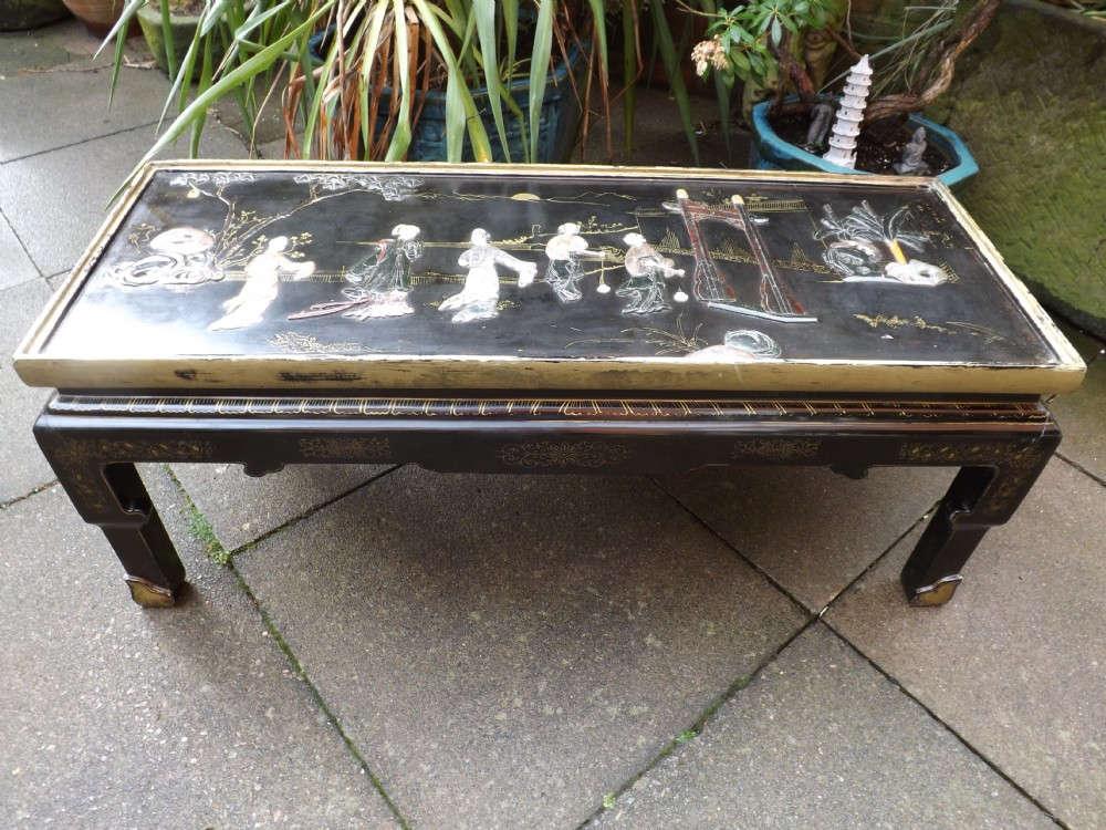 Early C20th Chinese Lacquer Low U0027coffeeu0027 Table With Decorative Carved  Soapstone Top