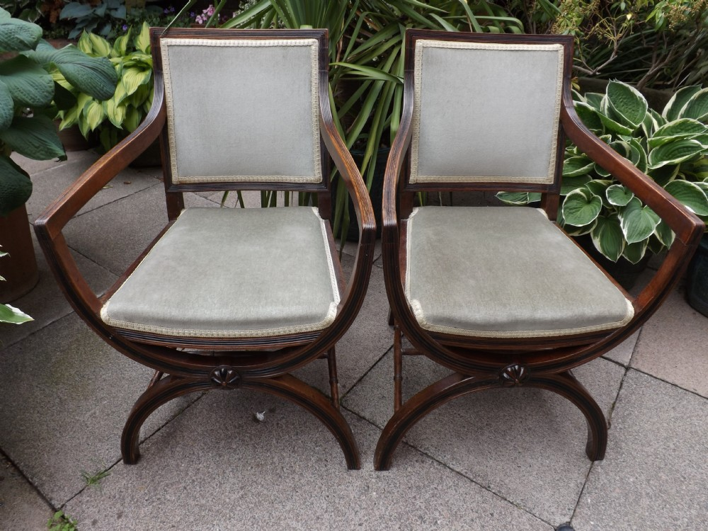 pair of early c20th regency style reeded frame mahogany armchairs