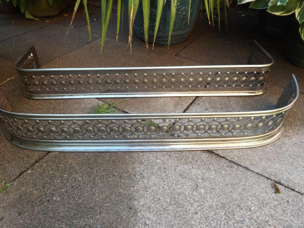 x 2 early c19th regency period steel fireplace fenders of identical pattern