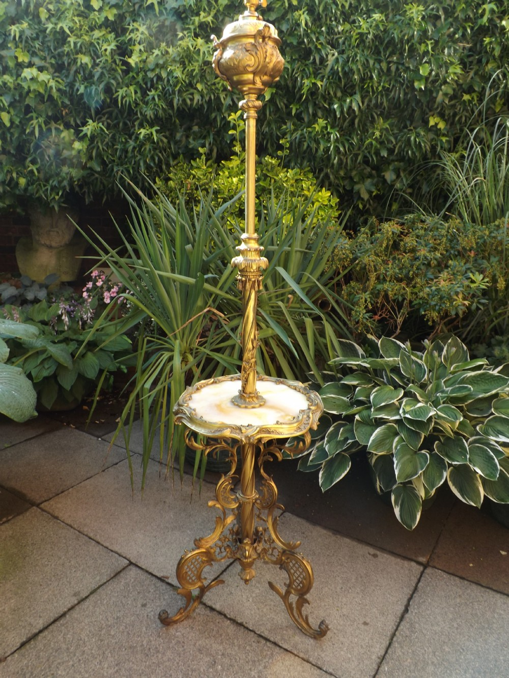 late c19th gilded brass and onyx standard lamp