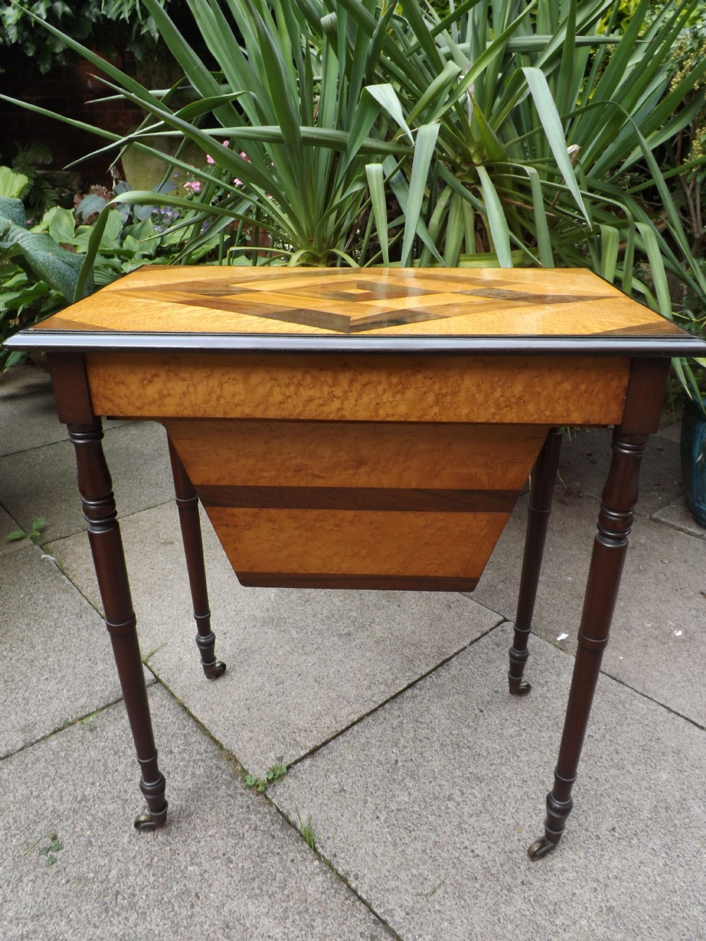 fine early c19th regency period ladies 'worktable' inlaid with specimen wood veneers