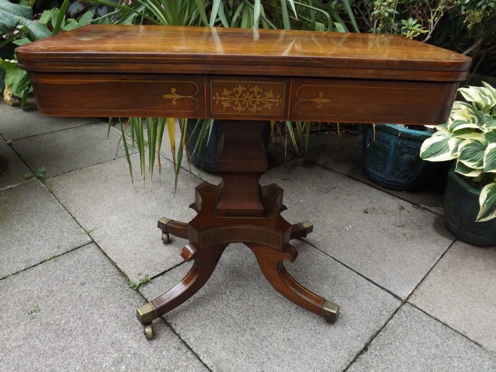 early c19th regency period brassinlaid rosewood foldover 'tea' table