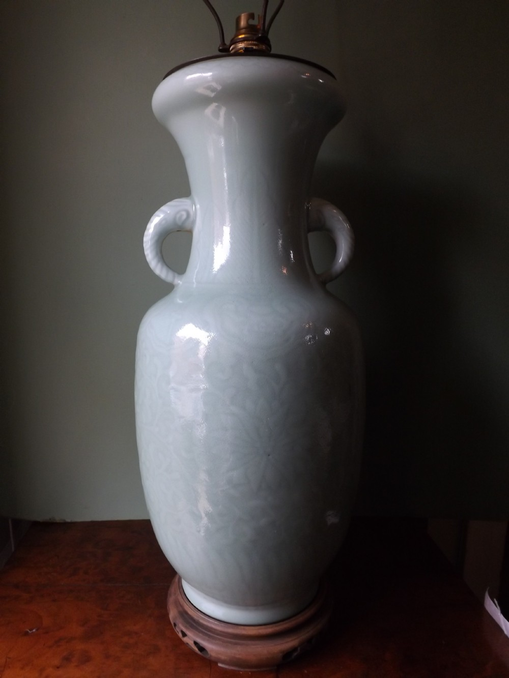 late c19th chinese porcelain celadon glaze lamp