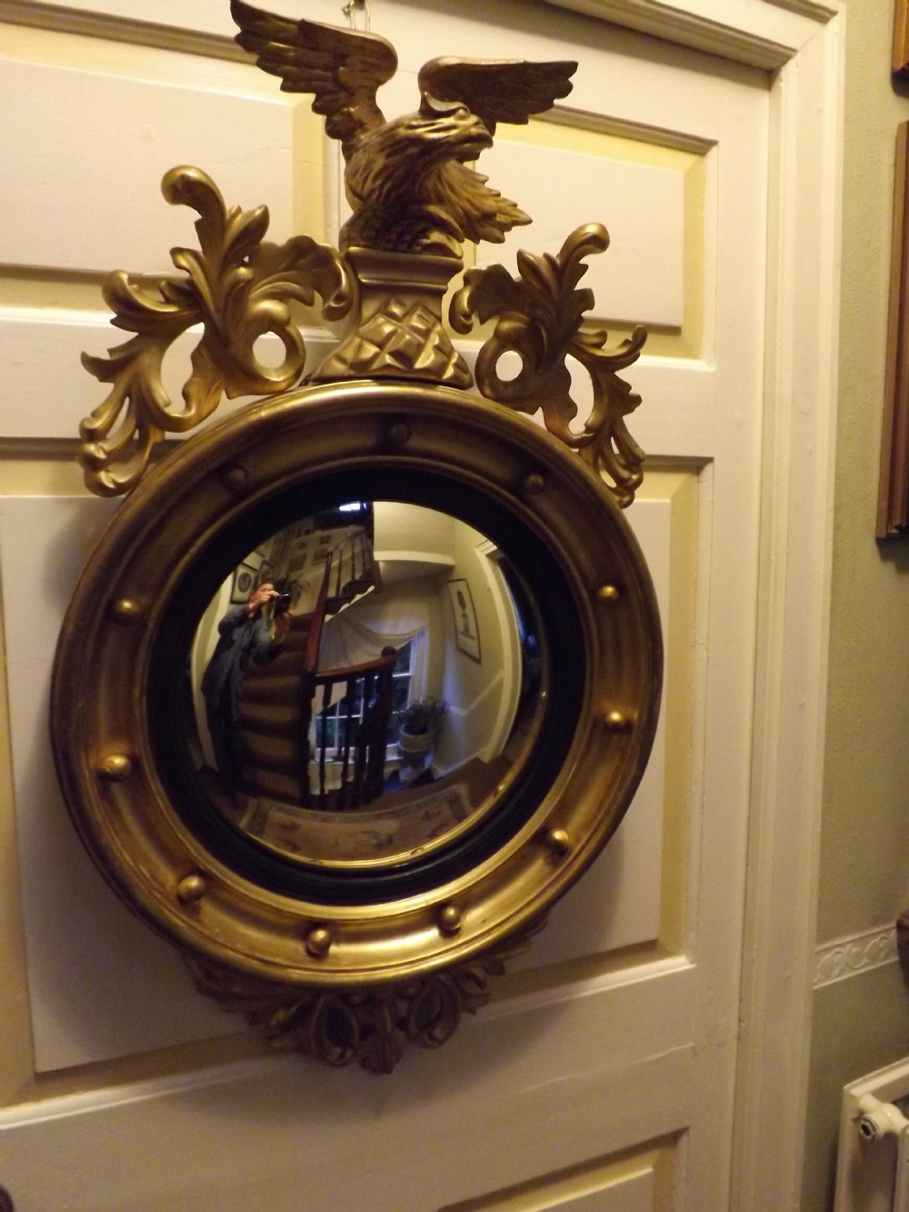 C19th Regency Period Gilt Wood Framed Convex Wall  Mirror | 307973 |  Www.leesantiquesworcester.com