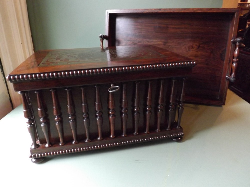 fine c19th regency period brassinlaid rosewood duo of desk casket and bookcarry tray