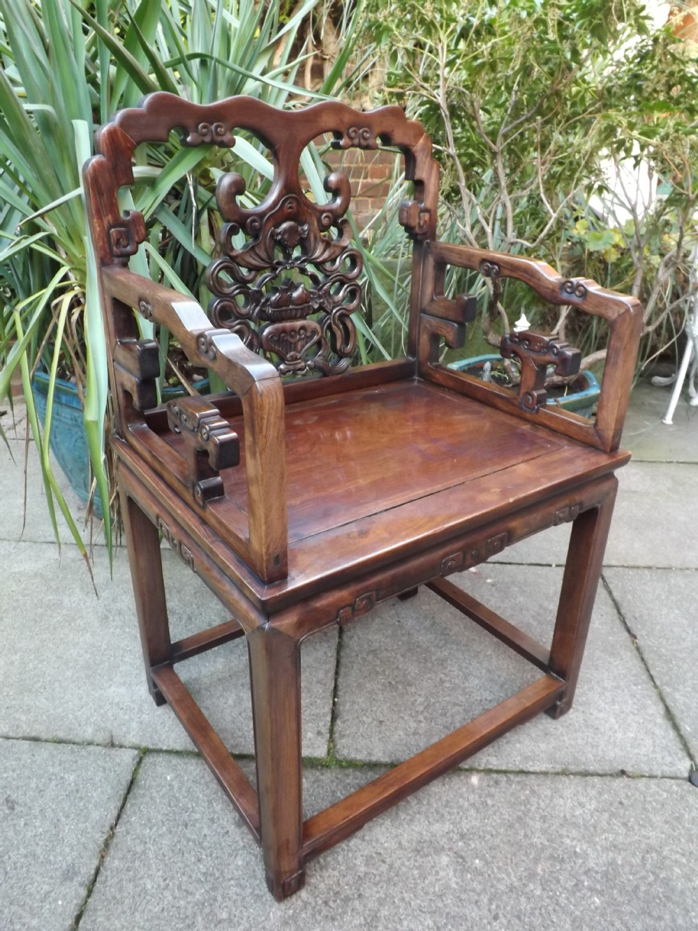 late c19th chinese qing dynasty carved hardwood armchair