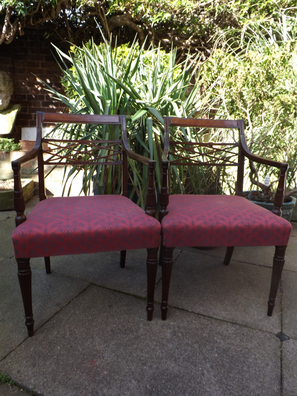 pair of late c18th early c19th george iii period mahogany armchairs