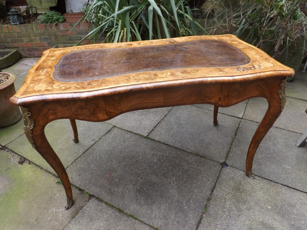c19th walnut and floral marquetry 'bureauplat' or writing table