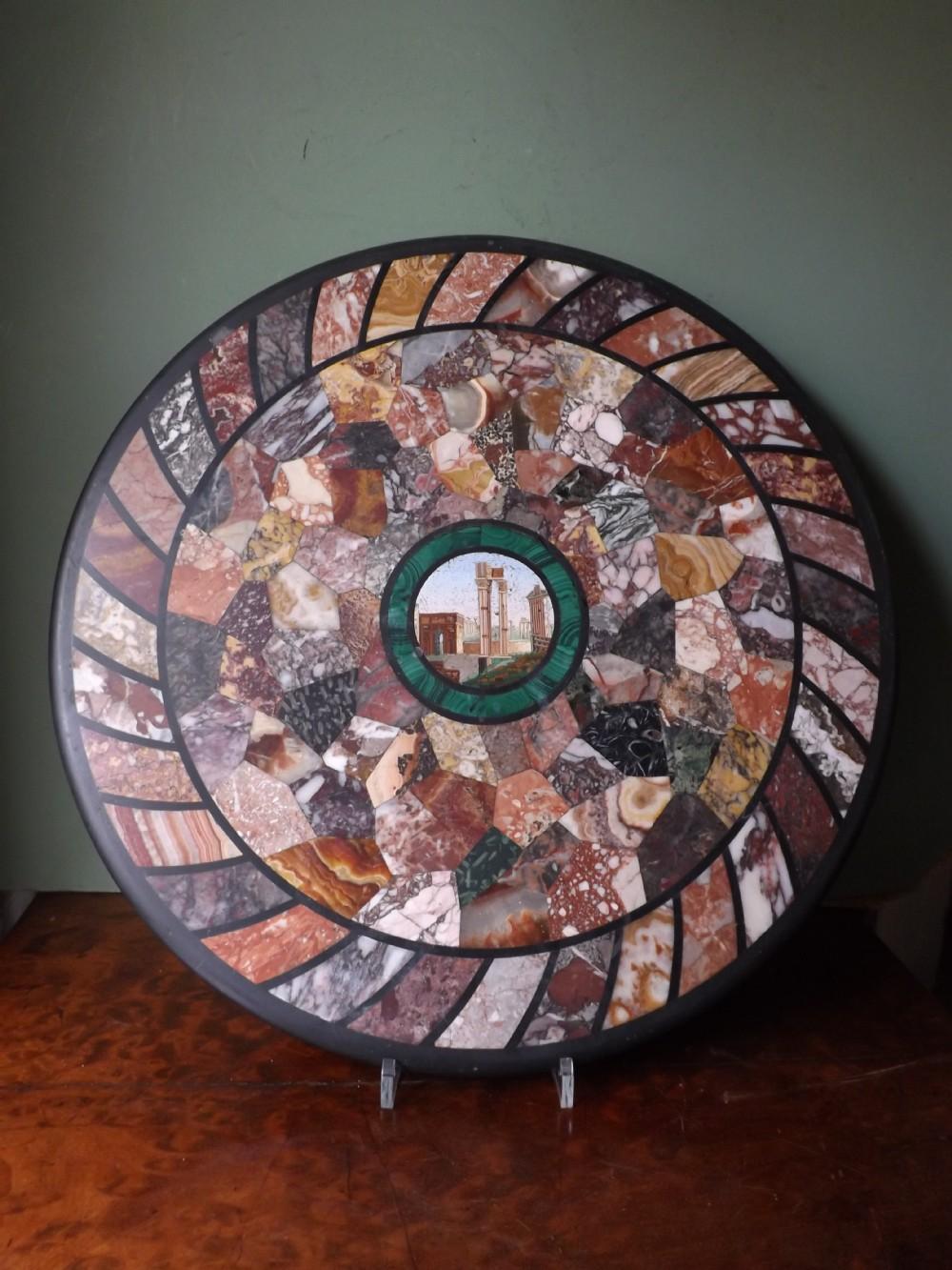 c19th italian grand tour souvenir specimen marble and micromosaic tabletop roundel